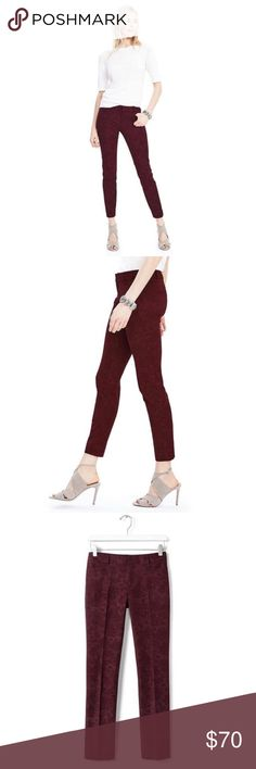 "Banana Republic Sloan slim ankle in baroque print! NWT‼️This is the Sloan slim ankle pant from Banana Republic. A bestseller! Comes in a beautiful rich burgundy color and baroque print. Measures 16"" waist and 27"" inseam. Hits at the ankle. True to size. ❌No lowballs ✔️Bundle&Save Banana Republic Pants Ankle & Cropped"