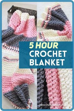 Free Crochet Baby Blanket Pattern - Crochet Dreamz - - This free crochet baby blanket pattern works up in under 5 hours. You will love the texture and the softness of this blanket. Make one today! Crochet Throw Pattern, Baby Afghan Crochet, Manta Crochet, Crochet Bebe, Crochet Blanket Patterns, Free Crochet, Knitting Patterns, Baby Afghans, Crochet Blankets