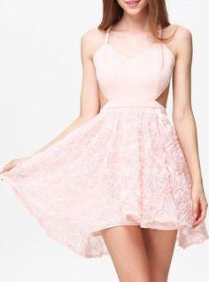 Womens Peach Dress - Sweetheart Cutout Spaghetti Strap Dress