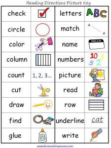 Reading Directions with Independence Picture Key