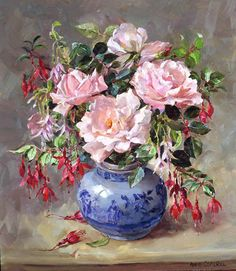 """Anne Cotterill (1933-2010), """"Roses and Fuchsias"""""""