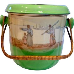 English Royal Doulton Huge Commode or Chamber Pot  or Slop Pail Green w Scene & Wicker Handle Dutch Harlem c 1902 to 1910
