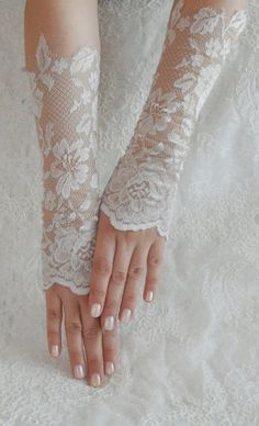 Bridal glove Wedding glove Vintage light beige lace by WEDDINGHome, $28.00