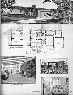 From: 111 Split-Level and Hillside Homes Modern Floor Plans, Modern House Plans, House Floor Plans, Mcm House, Vintage House Plans, Retro Room, Vintage Architecture, House Blueprints, Googie