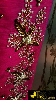 Embroidery Suits Design, Embroidery Works, Embroidery Fashion, Hand Embroidery Designs, Beaded Embroidery, Embroidery Patterns, Wedding Saree Blouse Designs, Maggam Work Designs, Hand Work Blouse Design