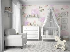 Multi-Color Pastel Floral Mural • Easy to Apply Removable Peel 'n Stick Wallpaper in Custom Colors!