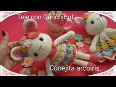 Amigurumi conejita arcoiris // teje con GanchiBol //tutorial paso a paso. - YouTube Yoshi, Youtube, Dinosaur Stuffed Animal, Bunny, Crochet Hats, Toys, Crocheted Toys, Crocheted Animals, Bears
