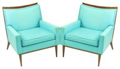 Pair Paul McCobb Turquoise & Walnut Club Chairs modern armchairs