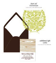 Wreath Wedding Invitation & Info Card by honey-paper.com #wedding #savethedate #aviedesigns #papercuts