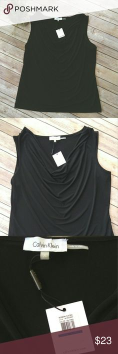 Calvin Klein sleeveless cowl neck top NWT Calvin Klein black top.  It is a sleeveless top.  The fabric is a stretchy jersey.  It has a cowl neckline.  It is new with tags.   Pet free smoke free home. Calvin Klein Tops
