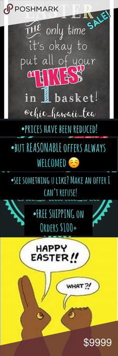 ☀️DEALS! Plus FREE shipping on select bundles!!☀️ It's that time of year....Spring cleaning sale!! Prices have been reduced, but REASONABLE OFFERS always welcomed. FREE shipping on orders $100+. See something u like, lmk, I'll work with u on anything. I always ship quick and carefully package your items. Have a great spring and pls help me spread the word. 🌸🌼🌷💐 sale Other