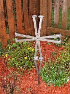 Railroad Spike Garden Cross custom made in the Metalworx shop Railroad Spike Art, Railroad Spikes, Metal, Garden, Shop, How To Make, Diy, Crafts, Garten