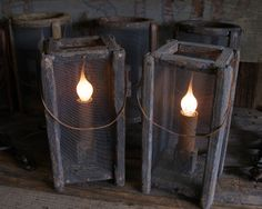 Primitive lantern lamp at Sweet Liberty Homestead. Great country lighting for your home!