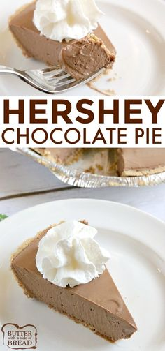Hershey Chocolate Pie is a no-bake chocolate pie made with melted marshmallows, melted Hershey bars and real whipped cream in a graham cracker crust. This easy chocolate pie recipe is so simple to make and is rich, chocolatey and absolutely delicious! Hershey Chocolate Pie, Easy Chocolate Pie Recipe, Chocolate Pies, Homemade Chocolate, Delicious Chocolate, Hershey Pie, Hershey Recipes, Chocolate Pie Recipe With Graham Cracker Crust, Marshmallow Pie Recipe