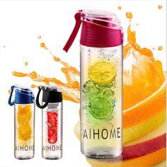 AIHOME 800 ml Vélo Sport Fruits Perfusion D'eau Infuseur Tasse De Jus De Citron Vélo Santé Écologique BPA Désintoxication Bouteille Flip Couvercle