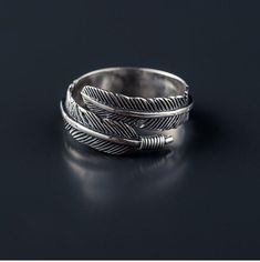 925 Sterling Silver Feather Ring Adjustable Feathers, Statement Wrap