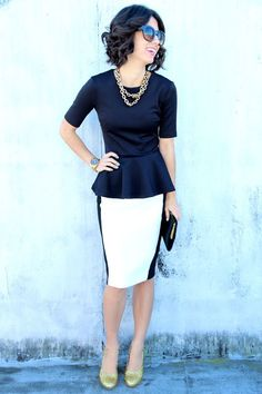 Fashion trends | White pencil skirt and black peplum top