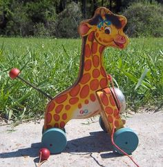 Vintage 1956 Fisher Price Jingle Giraffe Wood Pull Toy with Bell~Great Condition
