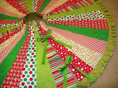 Bright and Cheery Quilted Tree Skirt 63 inch Diameter