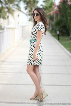 Three Summer Looks with Stephanie Sterjovski // polka dot dress // wedges // pop of color // Photography by Neal Jolly