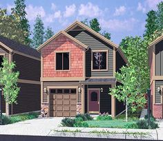 House front color elevation view for 10105 Narrow lot house plans, small house plans with garage, 3 bedroom house plans, 20 ft wide house plans, 10105 Narrow Lot House Plans, Garage House Plans, Modern House Plans, Small House Plans, Narrow House Designs, Garage Bedroom, Bedroom House Plans, Duplex Floor Plans, House Floor Plans
