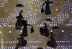 It's a lovely ceremony with Mary: A group of women dressed as iconic movie nanny Mary Poppins fly through the air