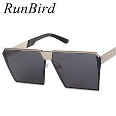 Brand Designer Celebrity Metal Men Oversized Sunglasses Fashion Luxury Square Sunglasses Women Mirror Lens Oculos De Sol R099