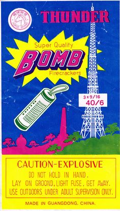Horse Brand Thunder Bomb 40-60 Firecracker Brick Label by Mr Brick Label, via Flickr