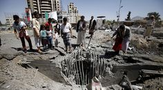 Saudi Arabia sinks UN war crimes probe in Yemen, Washington stays silent http://pronewsonline.com  People gather at the site of a Saudi-led air strike which targeted a tunnel leading to the presidential house near the Petrol Station in Yemen's capital Sanaa, October 1, 2015. © Mohamed al-Sayaghi