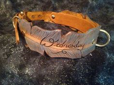WIDE Feather Hand Tooled Leather Dog Collar