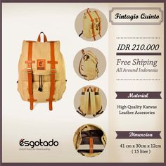 "Fintagio Quinto Cream IDR 210.000 Free Shipping All Around Indonesia Material High Quality Canvas Faux Leather Accessories Dimension 41x30x12cm 15 Liter 14"" inch Laptop Sleeve"