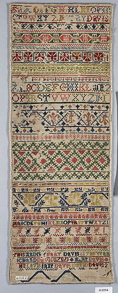 Sampler Date: 1709; Culture: British; Medium: Silk and wool on canvas; Dimensions: H. 21 x W. 7 3/4 inches (53.3 x 19.7 cm)