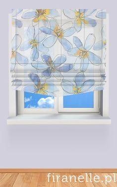 roleta rzymska w niebieskie kwiaty do pokoju dziecka, zamów roletę rzymską na wymiar na firanelle.pl