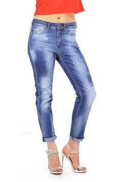 Kocca - Jeans - Abbigliamento - Jeans in cotone elasticizzato modello  boyfriend con dettagli consumati sulla 47501b43325