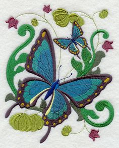 Victorian Butterfly (design 6) Embroidered On WHITE Kitchen Or Hand Towel