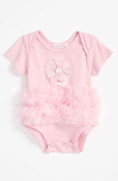 NEW BABY ITEMS!!! RUFFLES & FRILLS!!! Ruffles frill the waist of a ballerina-inspired bodysuit with cute envelope sleeves and a sweet flower at the chest. 3-6 months. $29.95