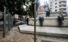 Placas de proteção do chafariz da Fonte Monumental na Praça da Lagosta quebradas e vandalizadas Leia mais
