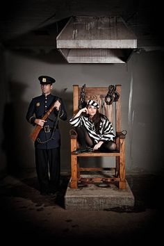 Bored Female Prisoner in Electric Chair Still Image, Electric Chair, Royalty Free Images, Stripes, Stock Photos, Retro, Prisoner, Attitude, Death