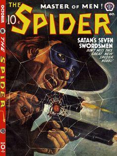 The Spider pulp magazine 1941 Pulp Fiction Comics, Pulp Fiction Book, Horror Posters, Horror Comics, Spider Book, Pulp Magazine, Magazine Covers, Eric Cantona, Book Cover Art