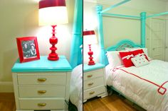 Turquoise And Red Bedroom | also painted my bed post turquoise and my lamp and frame red!