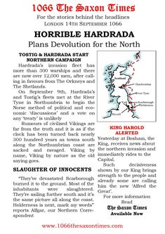 NO TREATY NECESSARY For the full report behind these headlines and the reports, read 1066 The Saxon Times. www.1066thesaxontimes.com #thesaxontimes #davidclarke # historywalkstalksandbooks #1066 #battleofhastings #thenormanconquest history #tes #ks2, ks3 #anglosaxonengland #haraldhardrada #tostig #thevikinginvasion #kingharold2 #waterstones #amazon The Headlines, Anglo Saxon, Secondary School, Campaign, How To Plan, Amazon, Reading, Tes, Culture