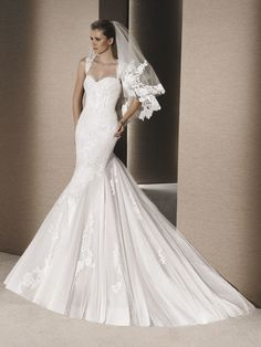 Mermaid Wedding Dresses : Picture Description Mermaid dress in petit pois tulle with lace and guipure appliqués. Bodice with sweetheart neckline and La Sposa Wedding Dresses, Wedding Dresses With Straps, Designer Wedding Dresses, Bridal Gowns, Allure Bridals, Scarlett, Mermaid Gown, Bustier, Bridal Boutique