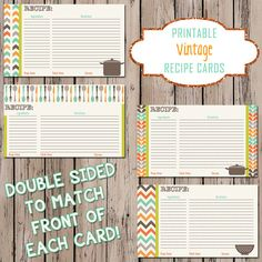 Recipe Card  Printable Vintage Recipe Card  by ChicDesignsByJEM