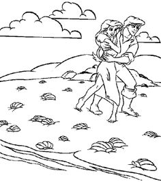 Eric Saves Ariel Little Mermaid Coloring Page