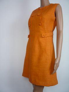 60s space age mod linen shift dress in Orange by HuzzarHuzzar, £27.00