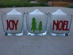 Dressing up candle holders with vinyl cut with the Cricut