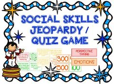 I needed a fun end-of-the-year activity for my social skills group, so I decided to create this Jeopardy game.This packet contains the materials to make a social skills-themed Jeopardy / Quiz game to use in speech therapy or counseling sessions. The difficulty level of the questions is probably best suited for upper elementary / lower middle school groups.