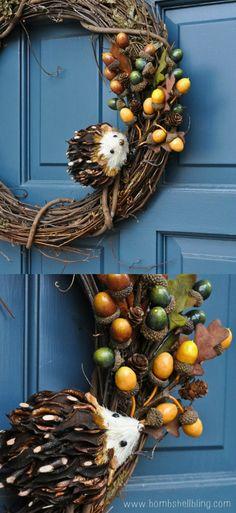 Fall Hedgehog Wreath Tutorial