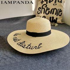 e3e8e67f308 IAMPANDA brand 2017 letter embroidery cap Big brim Ladies summer straw hat  youth hats for women Shade sun hats Beach hat sale