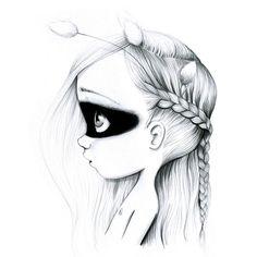 Tableau sur toile Wild girl black/white 40x40